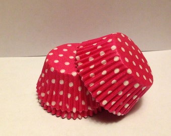 75 count - Greaseproof Bright Pink with White Polka dots standard size cupcake liners/baking cups