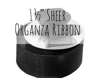 "1 1/2"" Black Ribbon, 1.5 Inch Ribbon, Black Sheer Organza Ribbon, Black Gift Ribbon, Gift Wrap, Wedding Supplies, Halloween Decoration"