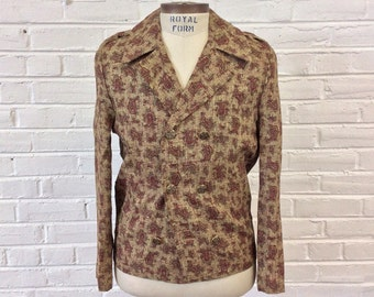 Vintage 1960s NOS Neo Edwardian Double Breasted Red Paisley Jacket by Mr. Mod. Sizes 34 and 36