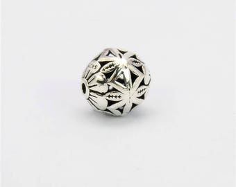 1 Bead Bali Oxidized 925 Sterling Silver 11.5mm Round Bead F378