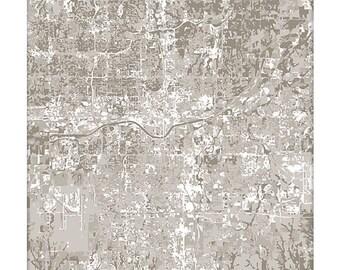 Oklahoma City Cityscape / OKC Map Art Print City Wall Art / 8x10 Poster / Choose your color