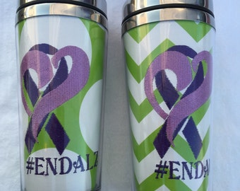 Monogrammed Personalized Chevron #EndAlz Alzheimers Awareness Insulated Photo Insertable Tumbler Mug Hot and Cold Teacher Gift