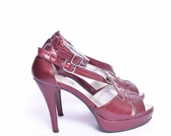 Vintage 90's Platform Red Sandal Heels