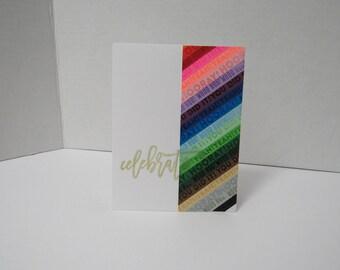 Handmade greeting card - Celebrate - Congratulations card - Gold metallic - Rainbow - Graduation card
