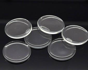 10 flat 25mm glass cabochons