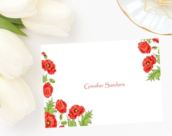 Personalized, stationery,Red Poppy Note Cards