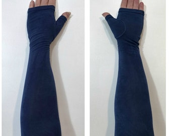 Navy blue hand-dyed fingerless gloves, gauntlets, arm warmers.