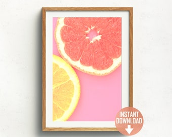 Printable Wall Art | Citrus Photo | Fruit Wall Print | Gallery Wall | Modern Wall Art | Kitchen Wall Decor | Bright Wall Art | Vibrant Decor