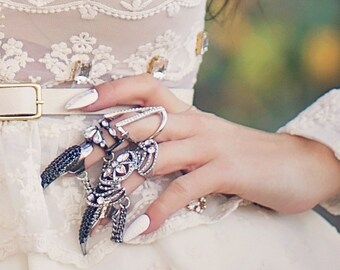NEW Gladiator Statement Cutout Goth Ring with attached Talon Ring, Claw Ring, Vintage Jewelry, victorian ring, Fashion Jewelry, Talon Ring,
