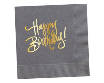 Napkins | Happy Birthday - Grey