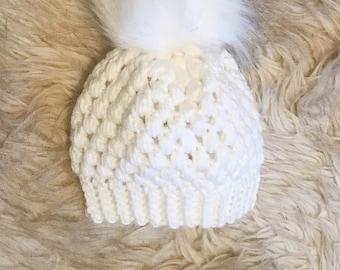 White Crochet Baby Hat, Snowbunny Hat, Unique Winter Hat