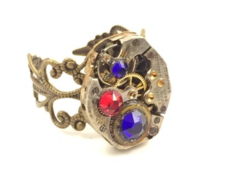 RED & ROYAL BLUE Steampunk Vintage Ring