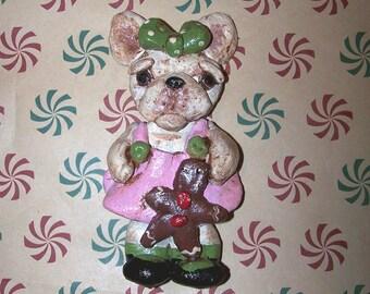 Folk Art French Bulldog Doll Ornament Sweet Gingerbread Girl