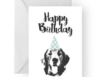 Golden retriever blank birthday card- golden retriever greeting card, dog card, puppy birthday card, cute dog birthday card, Birthday card