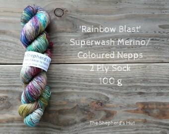 Superwash Merino/ Coloured Nepps 85/15   2 Ply Sock yarn 100 g 'Rainbow Blast'