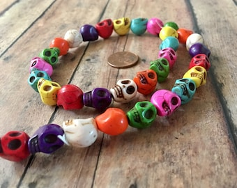 SKULL 12mm by 10mm Beads Strand Multi Colored Howlite Stone