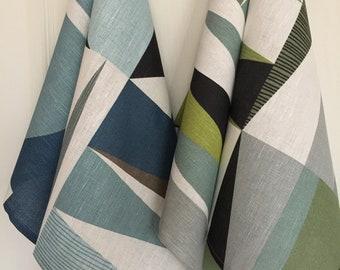 Linen Tea Towel Dish Kitchen Decor Gift Guest Hand Towel Set of 2 Print Fabric Geometric