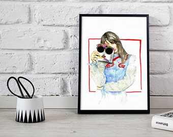 wall art, fashion illustration, wall decor - 3 sizes available Giclee print