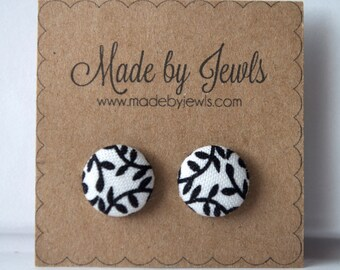 Black and White Vine Handmade Fabric Covered Hypoallergenic Button Post Stud Earrings 10mm