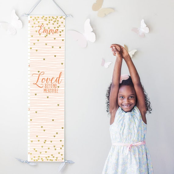 "Pink striped and gold hearts ""Loved beyond measure"" canvas growth chart"