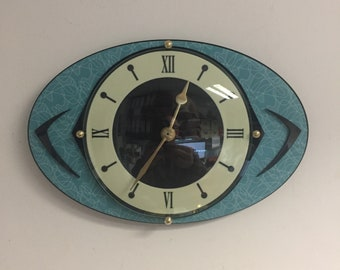 Lucite & Formica Wall Clock from Royale - Mid Century French Atomic Retro style - Naugahyde influenced with Boomerangs
