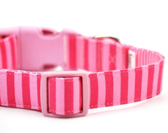 Pink Dog Collar Striped Girly Dog Collar Bright Girl Dog Collar