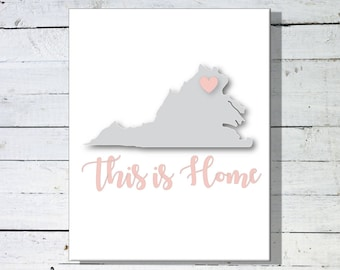 Digital This is Home State Sign, 8x10 State Sign, Virginia State Sign, New York State Sign, California State Sign