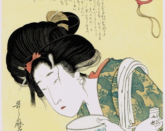 "Japanese Ukiyo-e Woodblock print, Utamaro, ""The Lazybones"""
