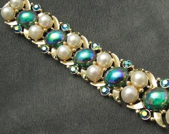 Vintage Bracelet Stunning Pearl Carnival Glass B5400