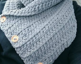 Grey Button Up Cowl. Made to order