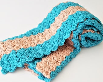 Teal & Tan Crochet Baby Blanket - Ready to Ship