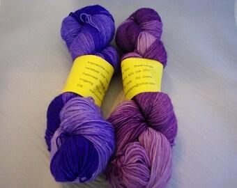 Hand dyed SW 80/20 Merino/Silk 600 yd, 150g  Shawl Length