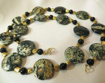 Zebra Jasper Coin Beads, Black Onyx Round Beads, & Brass Textured Coin Beads Neckace