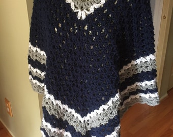 Crocheted Poncho, Wrap, Team Colors, Football, Sports