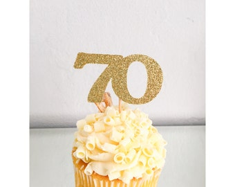 Glitter Birthday cupcake toppers, age cupcake toppers, 70th birthday, 30th birthday cupcake toppers, 40th birthday, 50th birthday, set of 12
