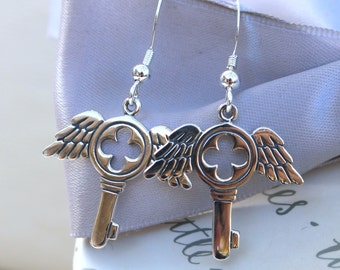 Gothic Winged Key earrings Sterling Silver