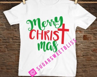 Tshirt Merry Christ Mas Jesus Religious Christmas Shirt Tee Church Holiday Party Gift Glitter Available Cross