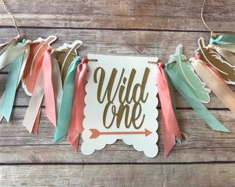 NEW!!  Wild One Birthday Mint Gold | High Chair Highchair Banner photo prop First Birthday 1st Decoration