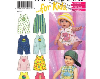 Baby Sewing Pattern New Look 6983 Sleeveless Dress & Romper Overalls Appliques Open Back, Boys Girls Infant Size NB S M L Uncut