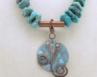Rustic Turquoise Necklace, Turquoise Pendant Necklace, Southwestern Turquoise Necklace, Copper Pendant Necklace