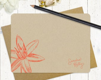 personalized note cards stationery set - GARDEN LILY flower bloom - set of 12 - personalized kraft stationary - flat note cards