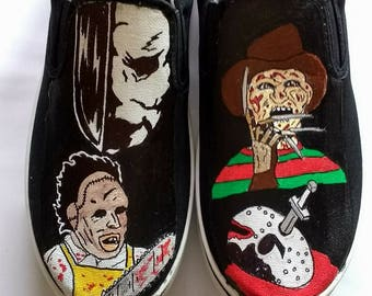 Slasher horror hand painted shoes