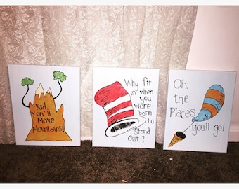 3 hand painted Dr Seuss canvas. Kid youll move mountains why fit in when you can stand out oh the places you'll go paintings