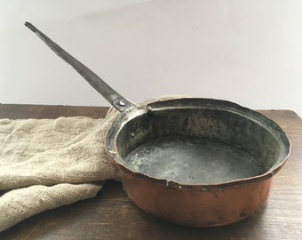 Antique Copper saucepan with an iron handle Copper pan Shabby kitchen French kitchen
