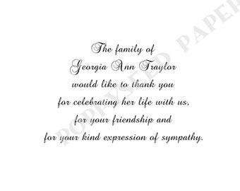 Memorial personalized folded note cards, stationery, funeral thank you cards, sympathy stationary