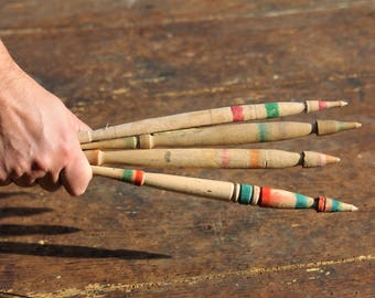 Wooden Spindles - Antique Wool Spindles Set of 4 - Primitive Bulgarian Spindles - Wool Spinning - Rustic Decor