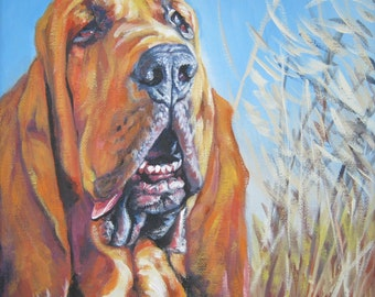 Bloodhound art print CANVAS print of LA Shepard painting 12x12