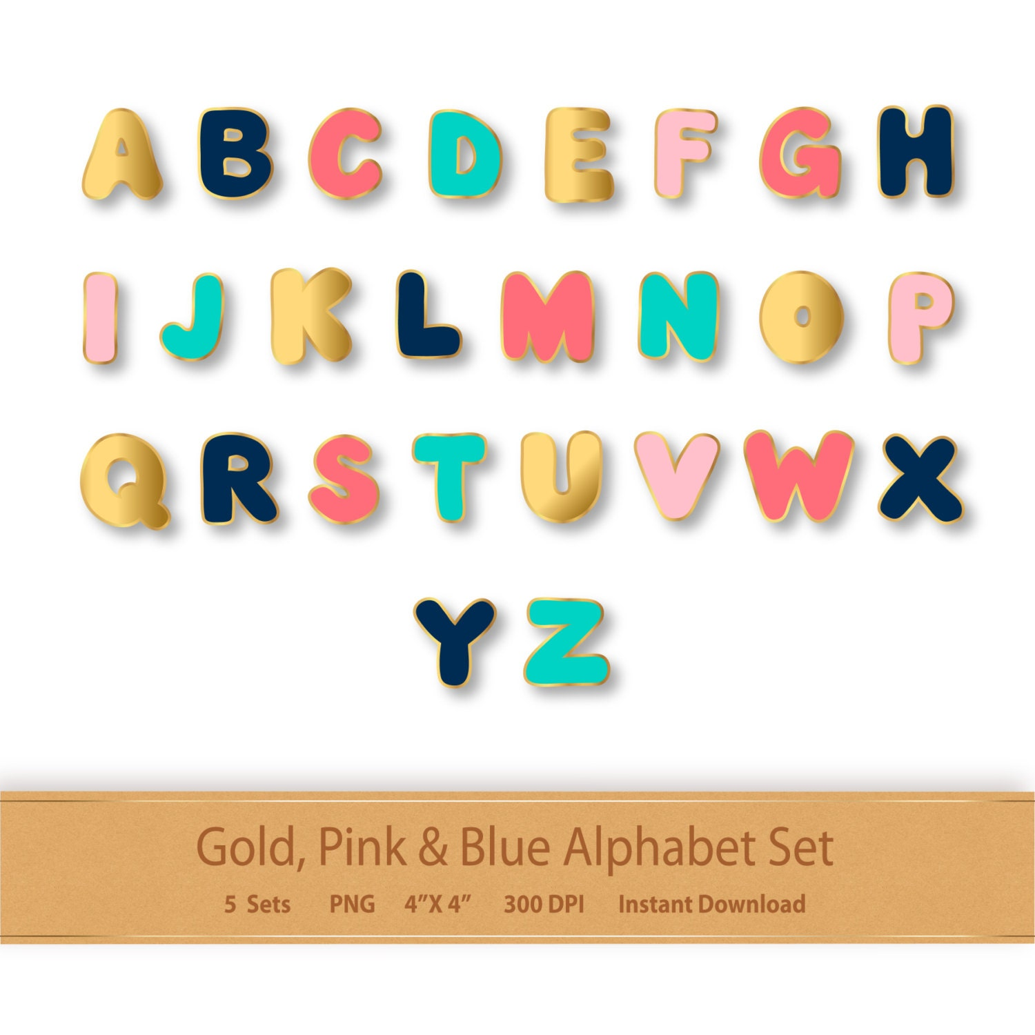 Gold Pink And Blue Alphabet Letters Gold Alphabet Clipart Letter