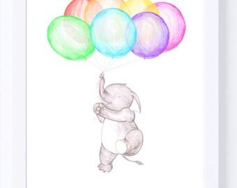 Nursery illustration, Elephant art, Or Monkey Art, balloons and animal drawing, for new baby, rainbow balloons,childrens room decor,wall art