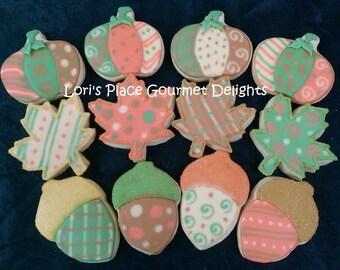 Fall Cookies - Pumpkin Cookies - Leaf Cookies  Acorn Cookies -12 Cookies